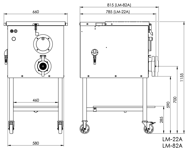 Dimensional drawing LM-22A, LM-82A