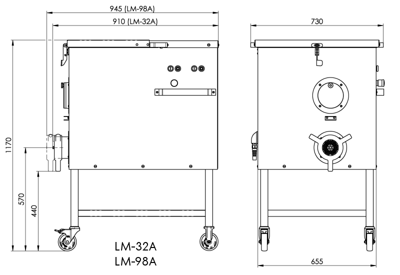 Dimensional drawing LM-32A, LM-98A