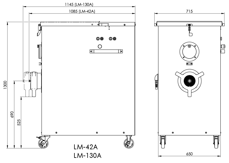 Dimensional drawing LM-42A, LM-130A